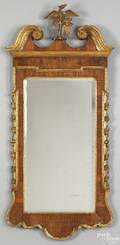 George III Chippendale walnut veneer and parcel gilt mirror late 18th c
