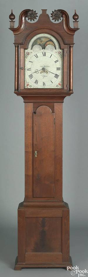 Manheim Pennsylvania Chippendale walnut tall case clock late 18th c
