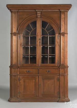 Pennsylvania twopart walnut architectural corner cupboard late 18th c