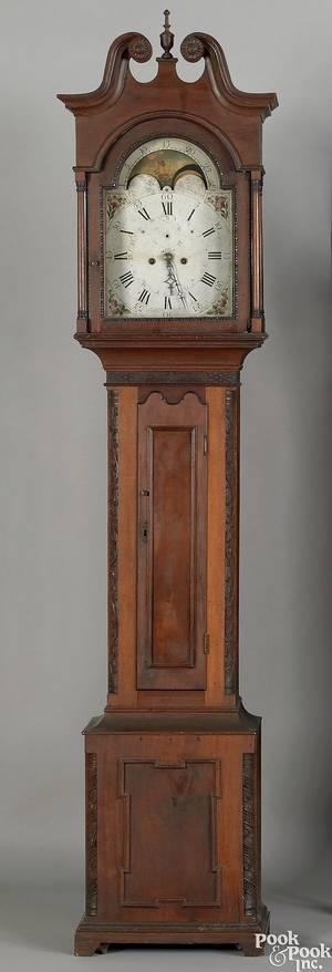Pennsylvania Chippendale walnut tall case clock late 18th c