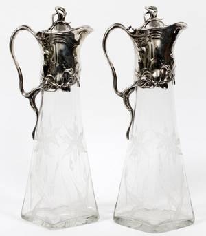 ART NOUVEAU ETCHED GLASS  SILVERPLATE PITCHER