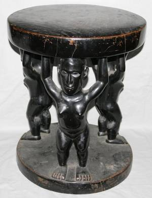 091241 AFRICAN PAINTED  CARVED WOOD FIGURAL TABLE