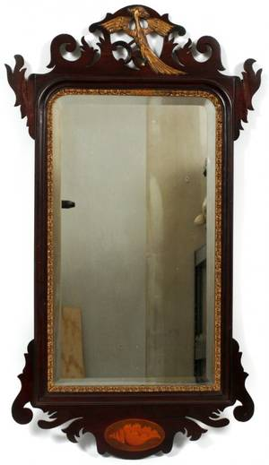 CHIPPENDALE MAHOGANY MIRROR 19TH C