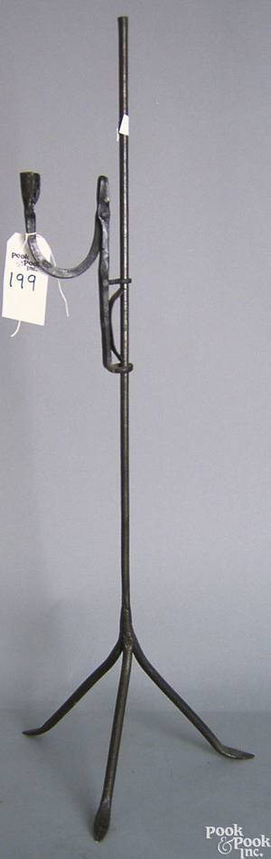 Wrought iron rush light and stand