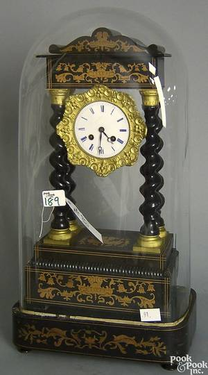 French ebonized mantle clock