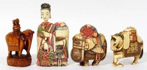 021209 CHINESE IVORY FIGURAL SNUFF BOTTLES FOUR