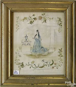 Silk and paint on silk memorial needlework