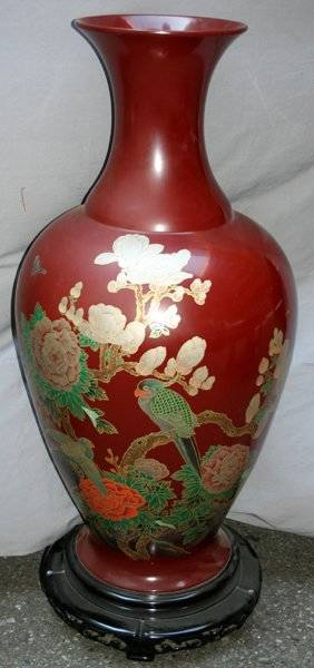091255 CHINESE RED LACQUER VASE H45 DIA20