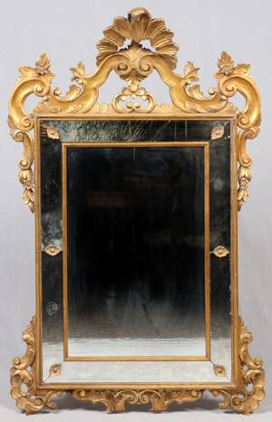 ITALIAN CARVED  GILT WOOD MIRROR EARLY 20TH C