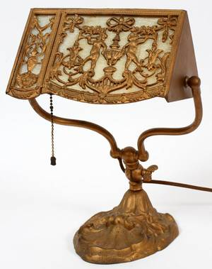 ART NOUVEAU GILT METAL DESK LAMP C 1910