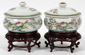 CHINESE HAND PAINTED PORCELAIN COVERED POTS PAIR