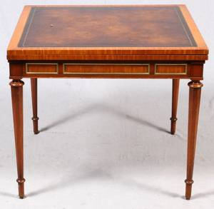 TOOLED LEATHER TOP GAMES TABLE SQUARE