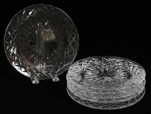 WATERFORD ADARE CRYSTAL LUNCHEON PLATES SIX