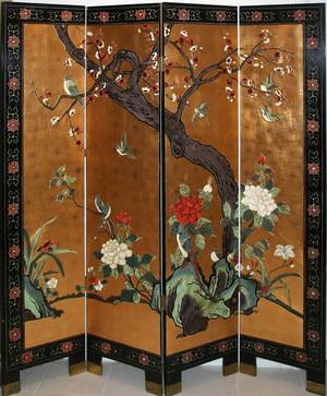 010165 CHINESE FOUR PANEL SCREEN H 72 W 64