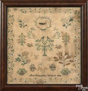 Pennsylvania silk on linen needlework dated 1833 wrought by Ann Eliza M Wilson
