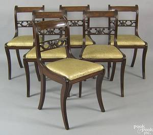 Set of six New England classical mahogany dining chairs ca 1835