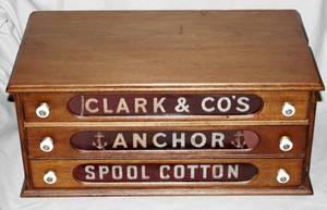 091313 CLARK  CO WALNUT SPOOL CABINET C1880 L215