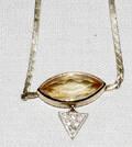 082173 GOLD NECK CHAIN MOUNTED W CITRINE  DIAMOND