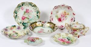 RS PRUSSIA PORCELAIN TABLEWARE C1900 7 PIECES