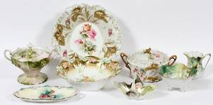 RS PRUSSIA PORCELAIN TABLEWARE C1900 8 PIECES