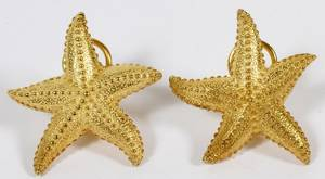 18KT YELLOW GOLD STARFISH EARRINGS PAIR