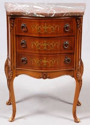 FRENCH FRUITWOOD HAND PAINTED  MARBLE TOP COMMODE