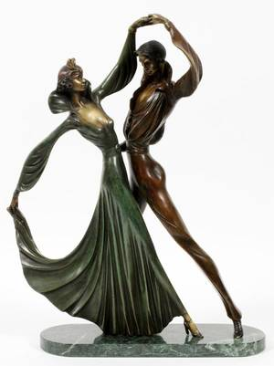 BRONZE FIGURAL SCULPTURE FEMALE  MALE DANCING