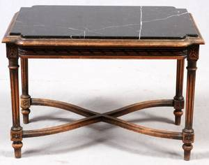 LOUIS XVI STYLE WALNUT TABLE W BLACK MARBLE TOP