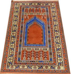 TURKISH KHULA HAND WOVEN WOOL PRAYER RUG