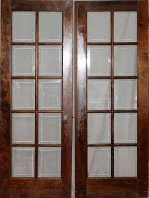 010221 WALNUT  BEVELED GLASS FRENCH DOORS C 1920