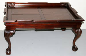 082216 MAHOGANY CHIPPENDALE STYLE COFFEE TABLE