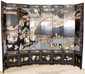 082206 CHINESE COROMANDEL LACQUER EIGHT PANEL SCREEN