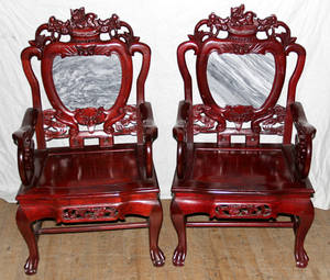 082204 CHINESE CARVED ROSEWOOD  MARBLE ARMCHAIRS