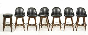 Set of 7 Custom Built Mahogany Swivel Bar Chairs