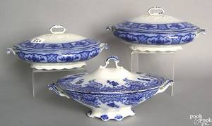 Three Melbourne flow blue covered oblong serving dishes