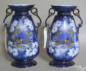 Pair of flow blue vases