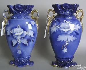 Pair of Victorian flow blue vases