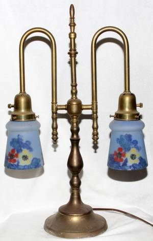SATIN GLASS  BRASS TWOLIGHT LAMP EARLY 20TH C