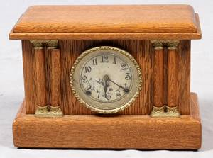 ARTHUR PEQUEGNA CLOCK CO OAK MANTEL CLOCK EARLY