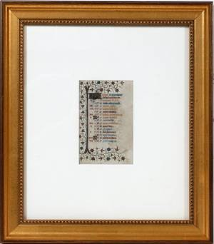 FRENCH ILLUMINATED MANUSCRIPT LEAF ON VELLUM