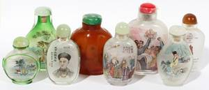 021358 CHINESE REVERSE PAINTED GLASS SNUFF BOTTLES