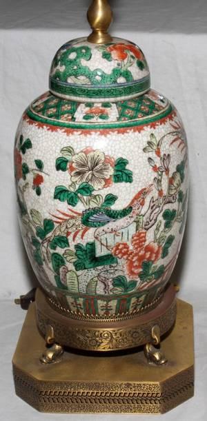 021330 CHINESE CRACKLE GLAZE PORCELAIN JAR LAMP