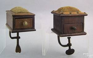 Two small Pennsylvania dovetailed sewing boxes 19th c