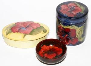 MOORCROFT POTTERY BOXES  BOWL THREE PIECES
