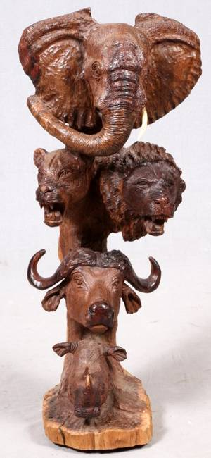 AFRICAN BIG 5 CARVED WOOD SCULPTURE LATE 20TH C