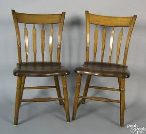 Pair of West Chester Pennsylvania arrowback windsor side chairs 19th c