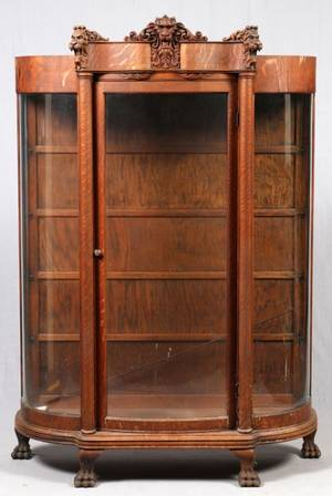 AMERICAN CARVED OAK CURIO CABINET 19THC