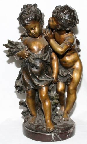 AFTER AUGUSTE MOREAU PATINATED BRONZE SCULPTURE