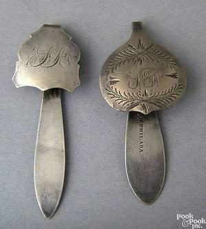 Two Philadelphia silver chatelaine hooks ca 18251846