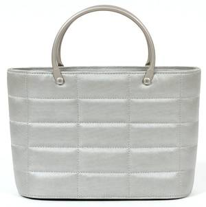 CHANEL QUILTED GRAY FABRIC HANDBAG